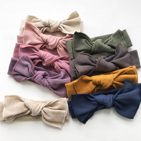 Cotton Rib Bow Headband - 12 colours