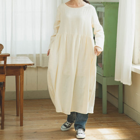 Double Gauze Muslin Long Sleeve Dress (Ivory)