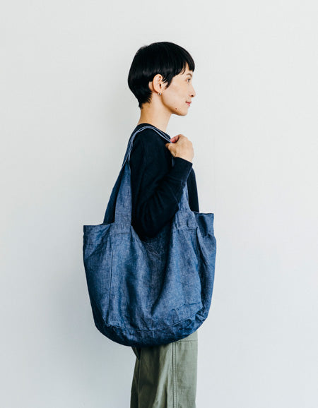 June Linen Denim Tote (Blue)