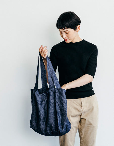 June Linen Denim Tote (Navy)
