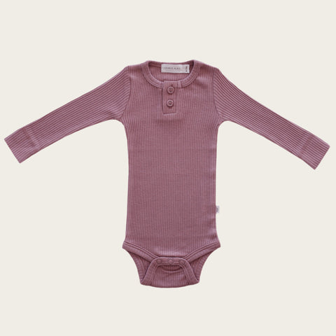 Organic Essential Long Sleeve Bodysuit (Nostalgia Rose)