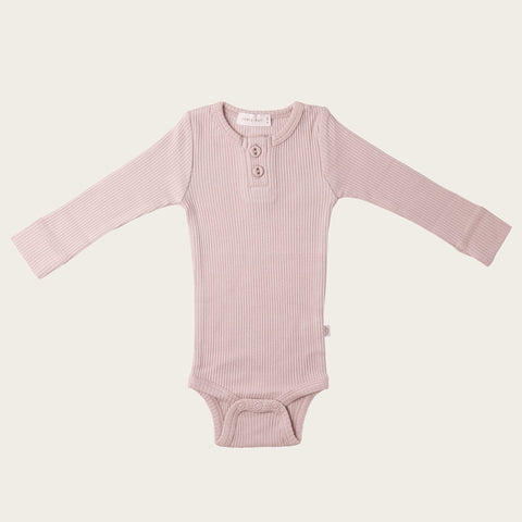 Organic Essential Long Sleeve Bodysuit (Old Rose)