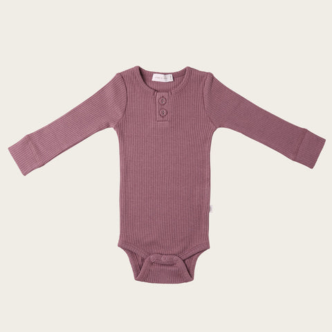 Organic Essential Long Sleeve Bodysuit (Woodrose)