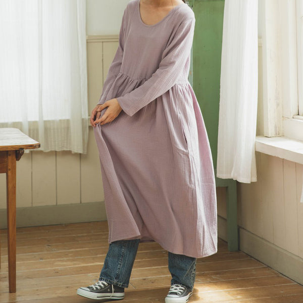 Double Gauze Muslin Long Sleeve Dress (Lavender)