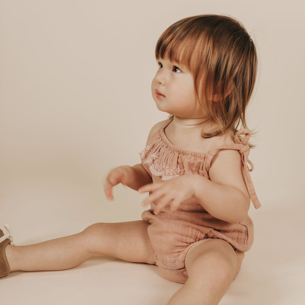 Luna Playsuit with Embroidery (Sunset)