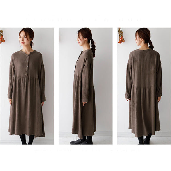 Double Gauze Muslin Long Sleeve Dress (Button Front)