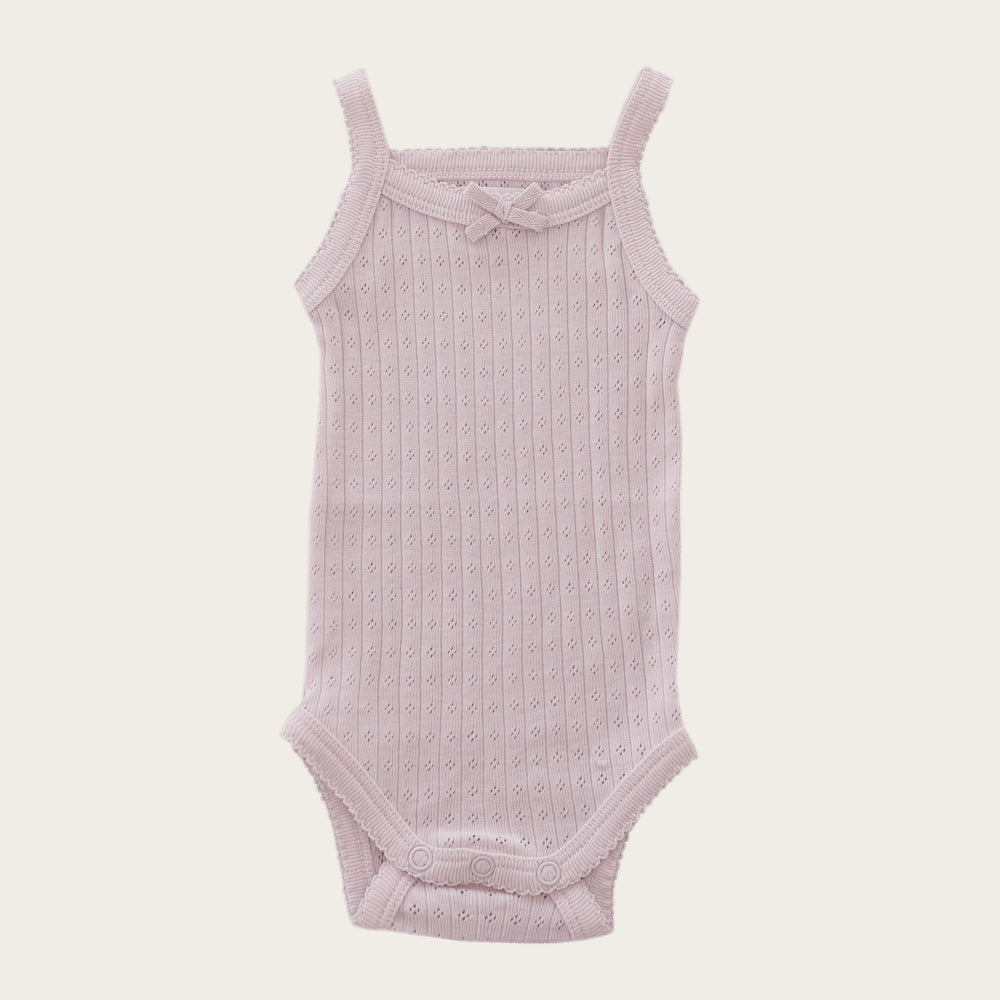 Pointelle Singlet Bodysuit (Old Rose)