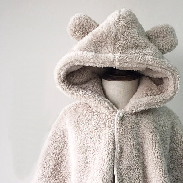 Bear Hooded Fleece Poncho