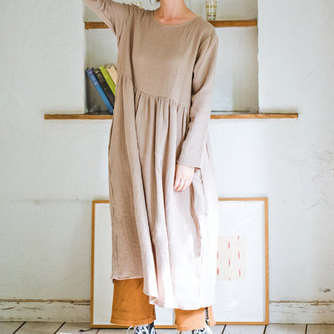 Double Gauze Muslin Long Sleeve Dress (Sand)