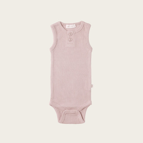 Organic Essential Singlet Bodysuit (Old Rose)