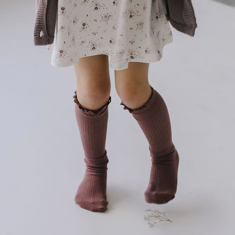 Knee High Frill Socks (Antique Rose)