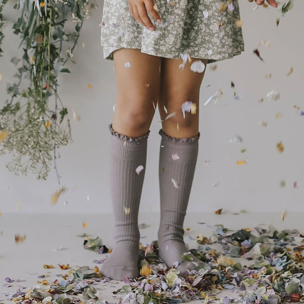 Knee High Frill Socks (Fawn)