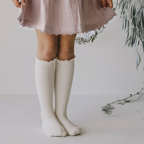 Knee High Frill Socks (Milk)