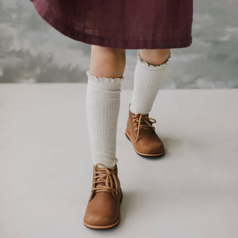 Knee High Frill Socks (Oatmeal)