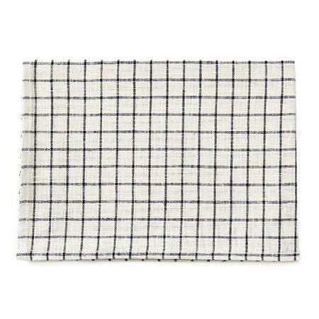 Fog Linen Tea Towel (Ivory with Navy Plaid)