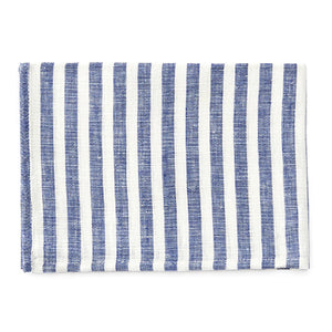 Fog Linen Tea Towel (Blue & White Stripe)