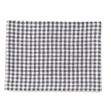 Fog Linen Tea Towel (Grey & White Check)