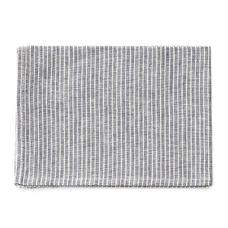 Fog Linen Tea Towel (Grey with White Stripe)