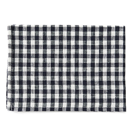 Fog Linen Tea Towel (Navy & White Check)