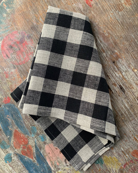 Thick Linen Tea Towel (Black & Natural Check)