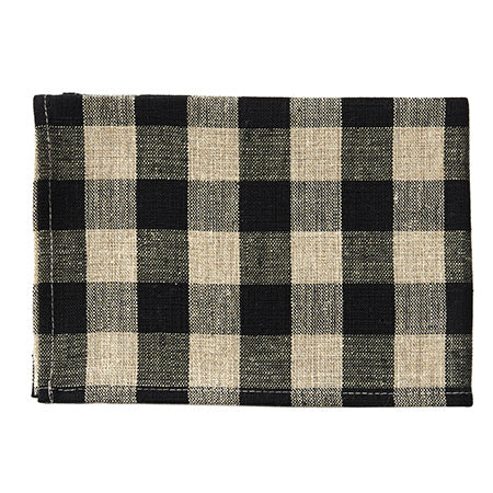 Fog Linen Thick Tea Towel (Black & Natural Check)