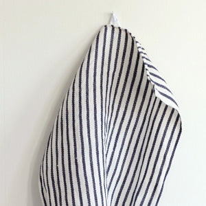 Fog Linen Thick Tea Towel (White with Navy Stripe)