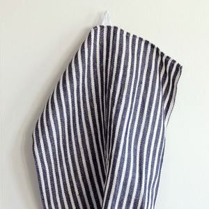 Fog Linen Thick Tea Towel (Navy with White Stripe)