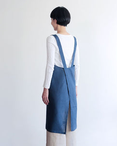 Fog Linen Cross Work Apron (Blue Marine)