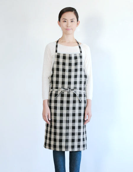 Fog Linen Daily Apron (Black & Natural Check)