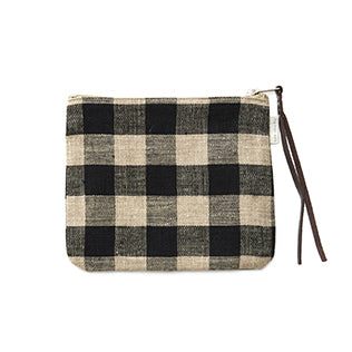 Linen Pouch (Black & Natural Check)