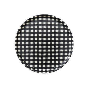 Linen Round Tray (Navy & White Check)