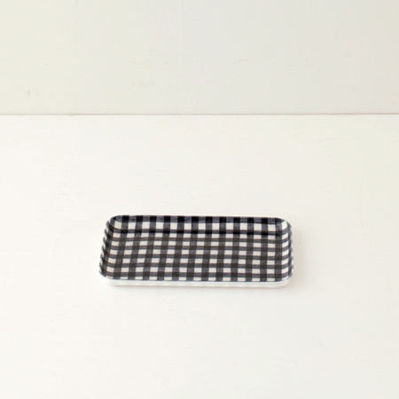 Linen Small Tray (Navy & White Check)