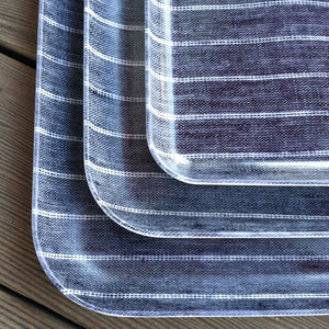 Fog Linen Medium Tray (Navy & White Stripe)