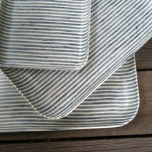 Fog Linen Small Tray (White & Blue Stripe)