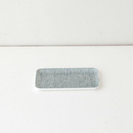 Linen Small Tray (White & Blue Stripe)