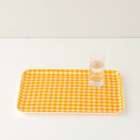 Fog Linen Medium Tray (Yellow & White Check)