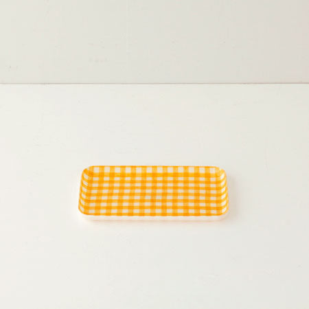 Linen Small Tray (Yellow & White Check)