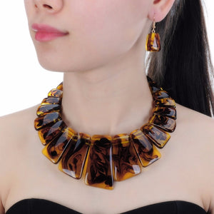 Resin Necklace Earrings Jewelry Sets