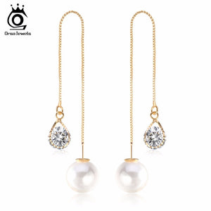 Water Drop Shape Crystal Long Stud Earrings Jewelry for Women
