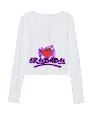 Open image in slideshow, Crybaby Tokyo Diva Half Button Long Sleeve Crop