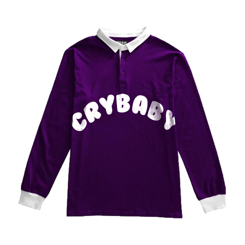 Crybaby Collard Rugby Long Sleeve Shirt