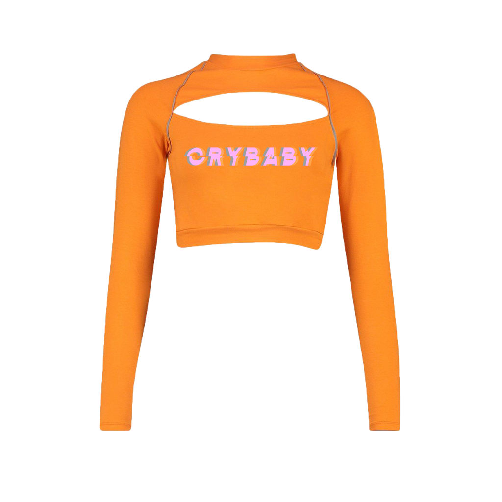 Crybaby Glitch Cutout Crop Long Sleeve
