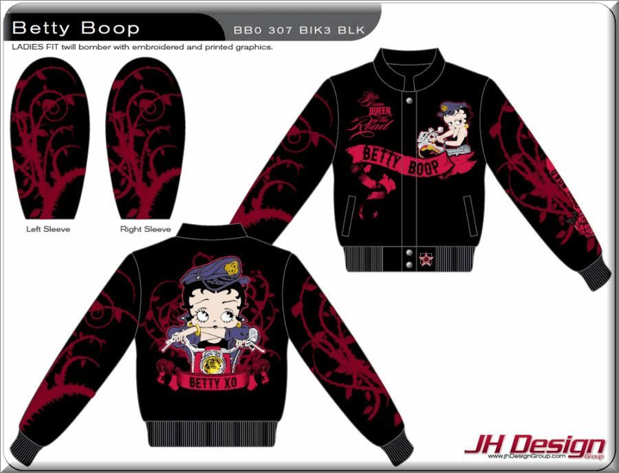 THE BETTY BOOP QUEEN OF THE ROAD Ladies Twill Jacket by JH Design