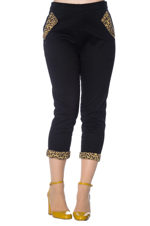 LEOPARD DENIM CAPRI PANTS  XS_ 4XL