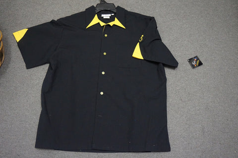 Mens Black Yellow Crusin Bowling Shirt