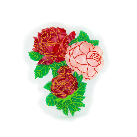 Roses in Bloom Brooch Valentine Daisy Jean