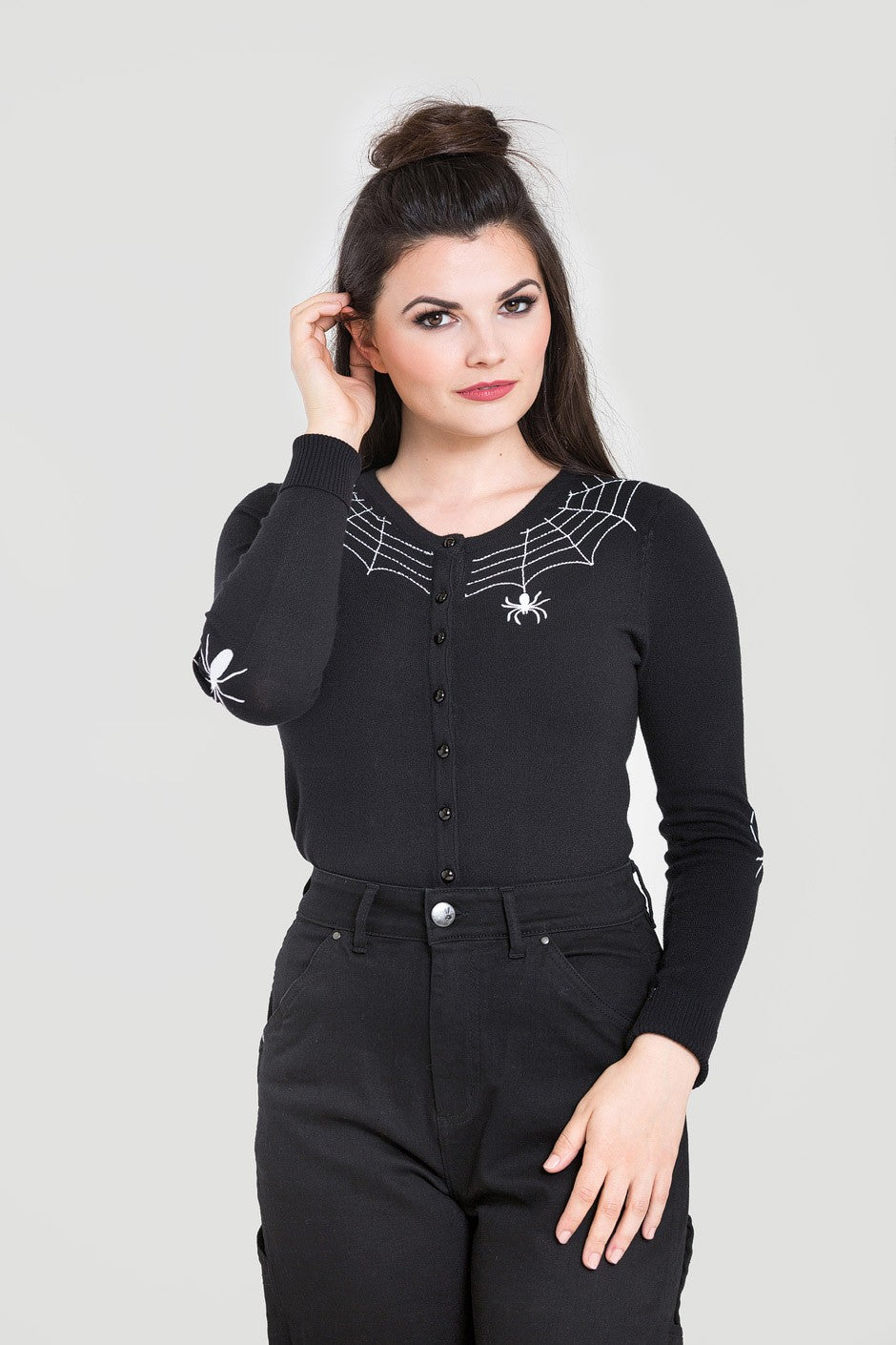 Spider Web Cardi Black  XS - 4XL