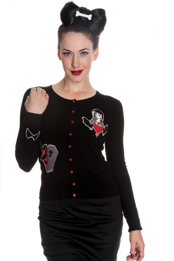 HELL BUNNY Ladies VAMPIRE Cardigan/Top Black Gothic Bats