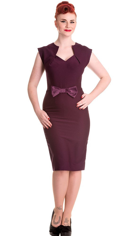 Hell Bunny Brenda Wiggle Dress Burgundy / Wine
