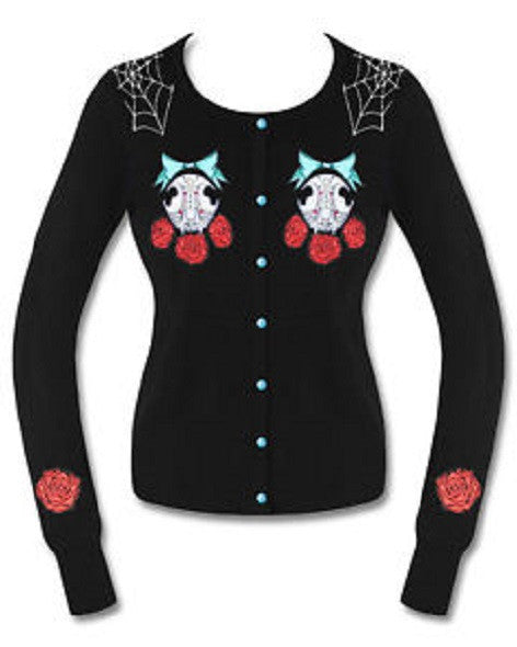 Hell Bunny Sugar Skull Cat Cardigan